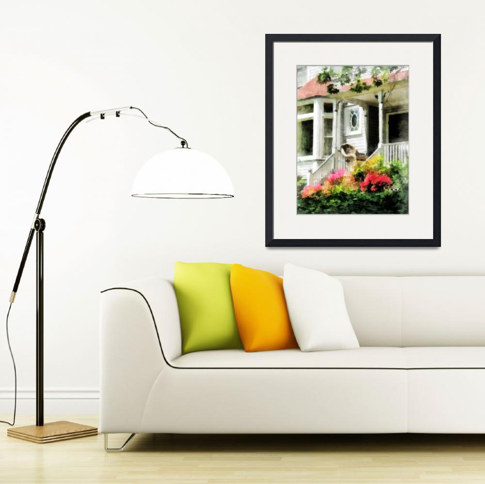 """""""Azaleas by Porch With Wicker Chair&quot  (2012) by susansartgallery"""