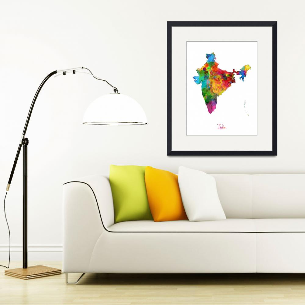 """India Watercolor Map&quot  (2014) by ModernArtPrints"