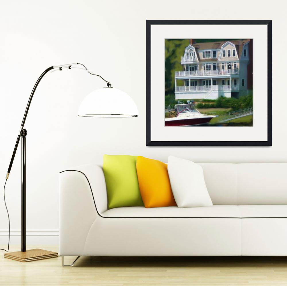 """""""House and Boat&quot  (2008) by houseportraits"""