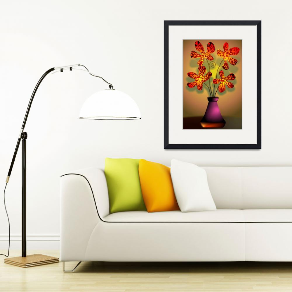 """""""Ravishing beauty of the flowers in a vase&quot  (2011) by digitalpainting"""
