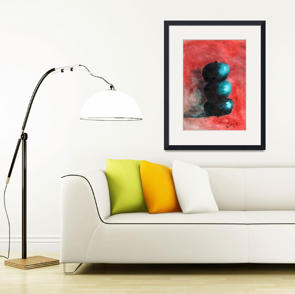 """""""Green Impressionist Apples Stacked on Abstracted R&quot  (2012) by ExclusiveCanvasArt"""