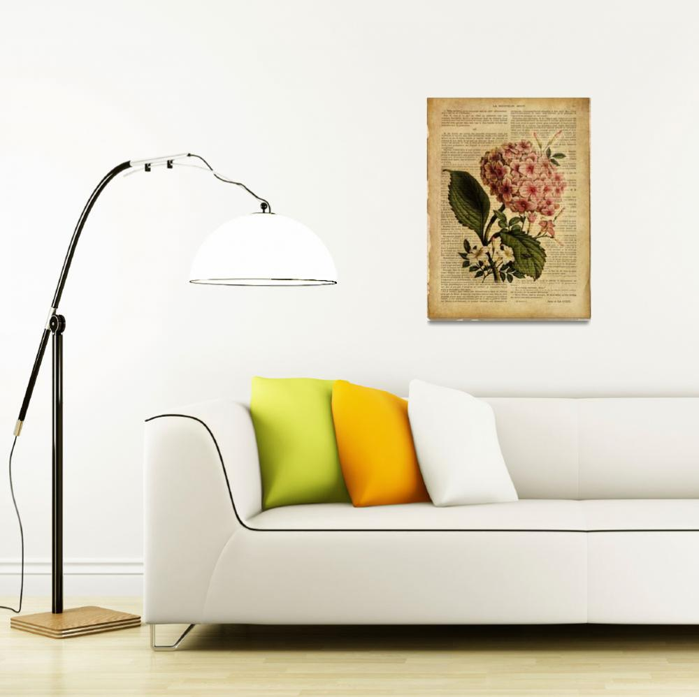 """""""old book page botanical print - Hydrangea&quot  by Art_by_Lilia"""