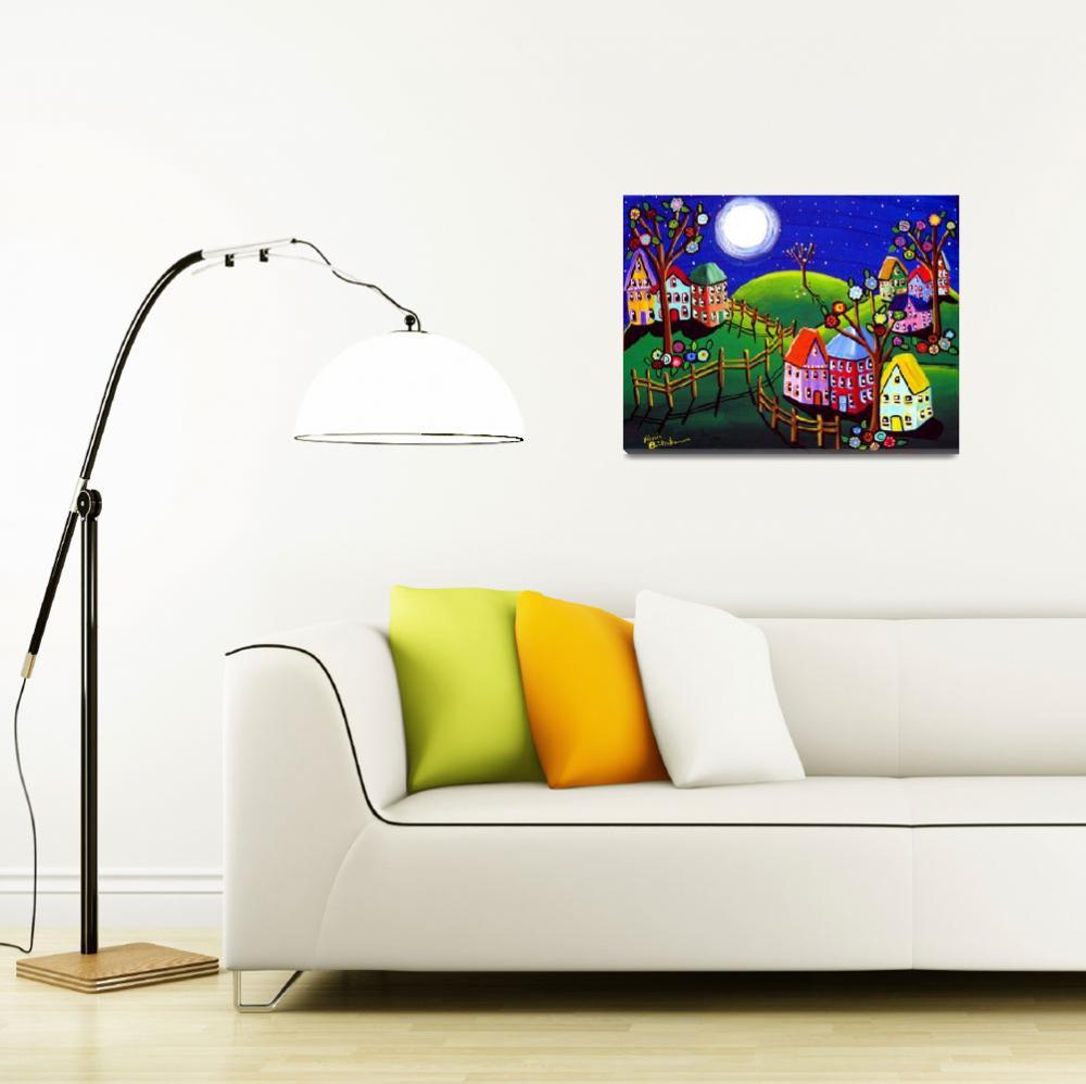 """Colorful Trees Blossoms Houses&quot  (2010) by reniebritenbucher"