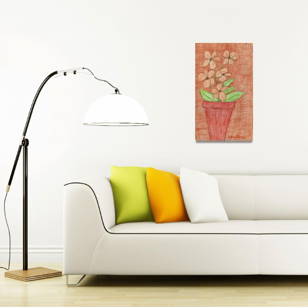 """""""Peach Flowers in Red on Brown&quot  (2009) by jmeraz"""