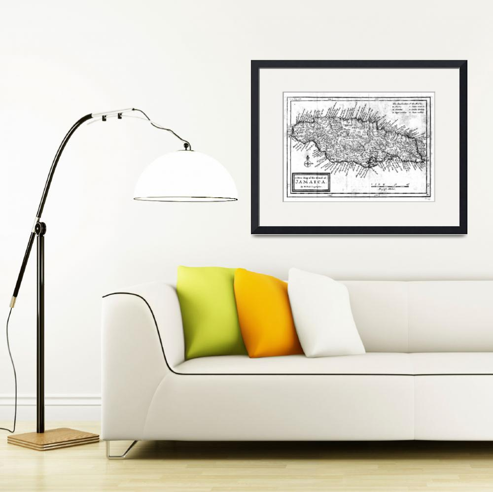 """""""Vintage Map of Jamaica (1771) BW""""  by Alleycatshirts"""