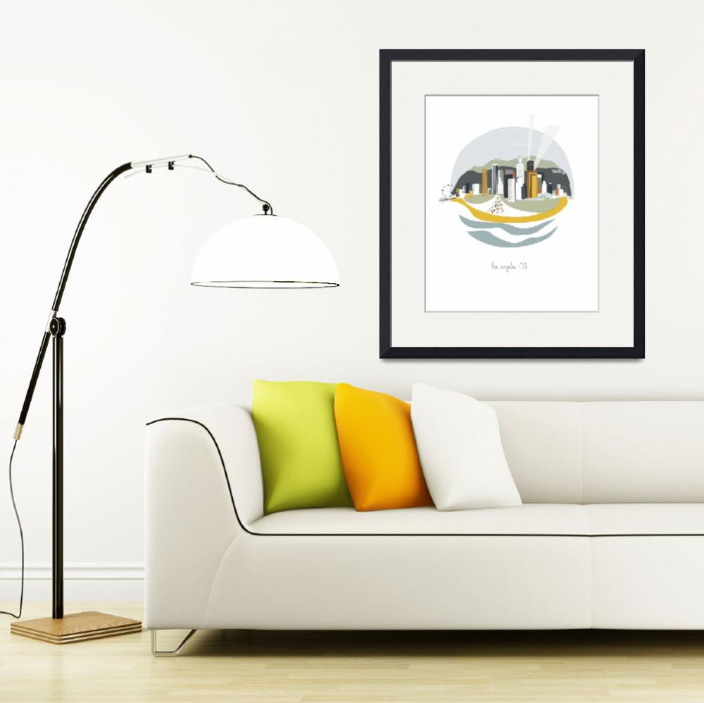 """""""Los Angeles Modern Cityscape Illustration&quot  by AlbieDesigns"""