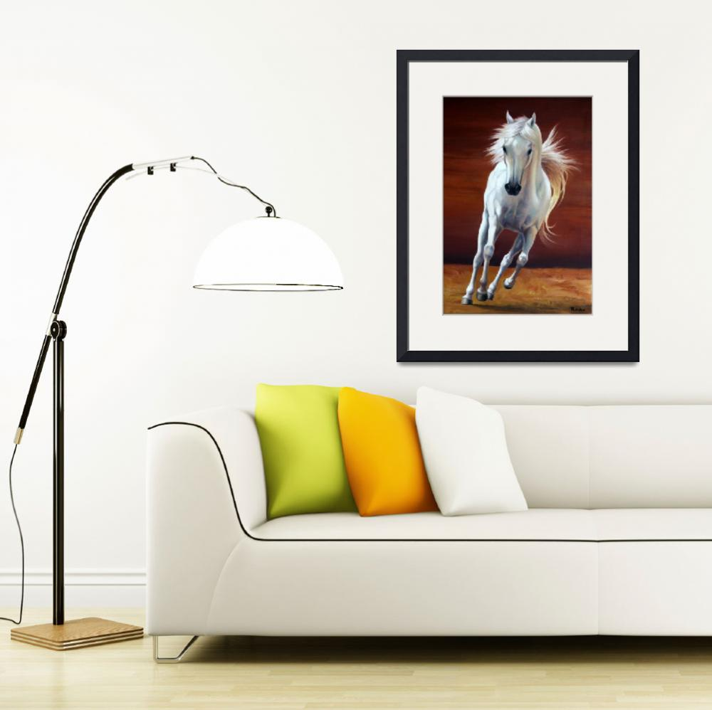 """""""Galloping White Horse""""  (2010) by rhyanarts"""
