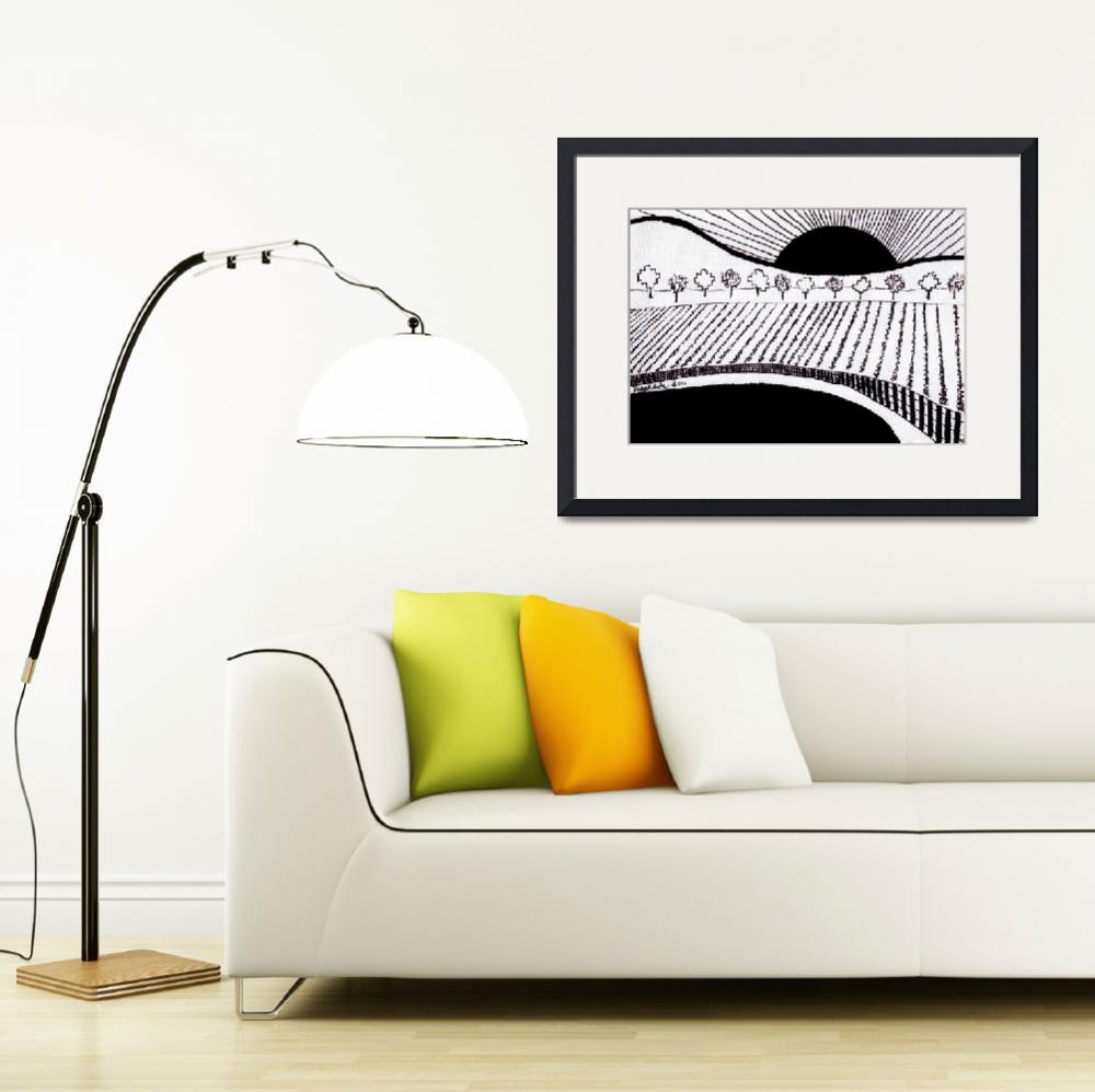 """""""Zen Sumi Rising Sun Black Ink on White Canvas by R&quot  (2011) by Ricardos"""