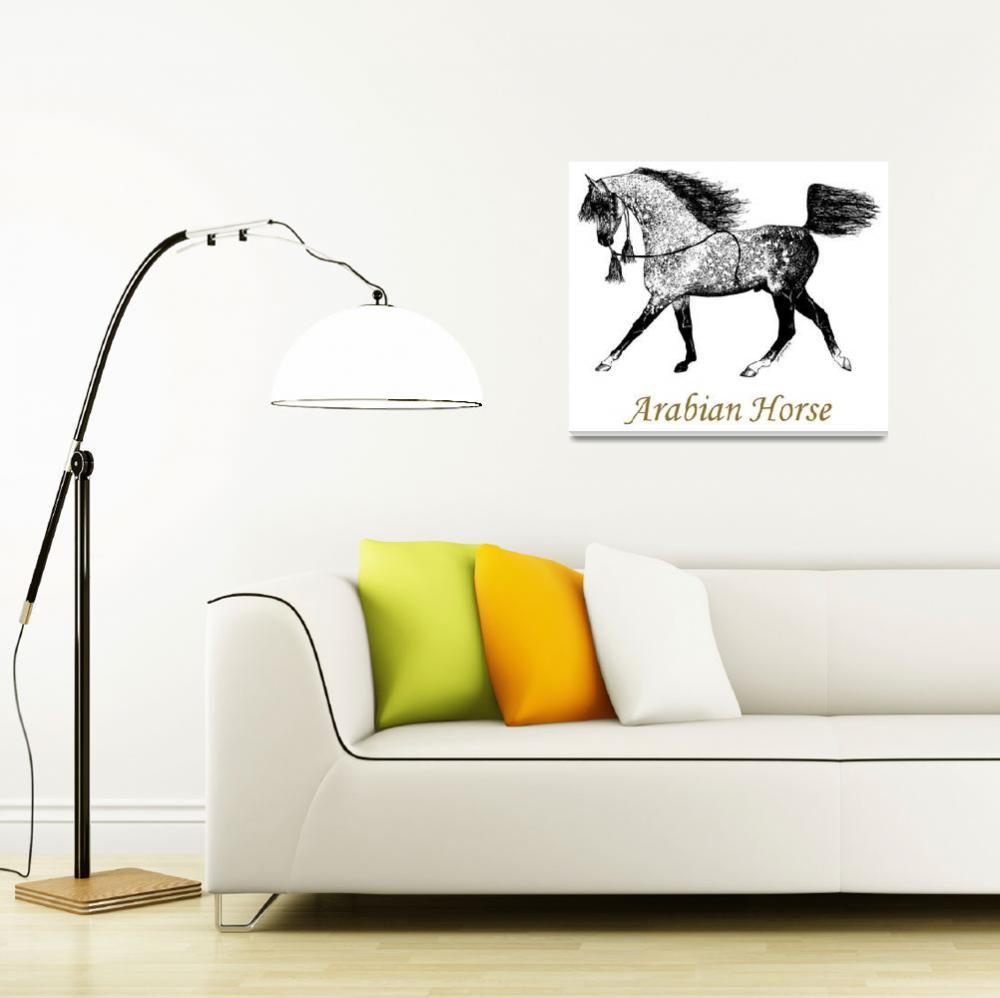 """Arabian Horse Drawing""  (1988) by evansonart"