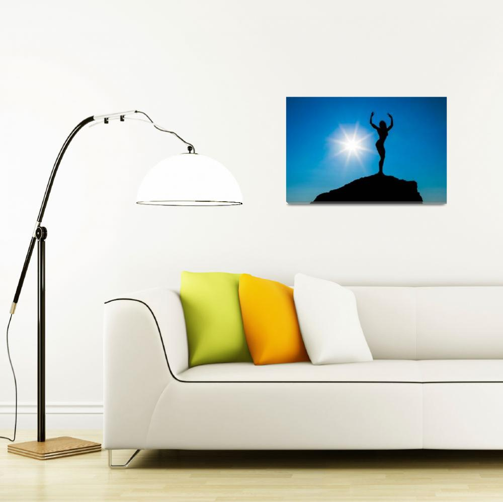 """""""Silhouette of the sports women against the sky""""  by andriy_petrenko"""