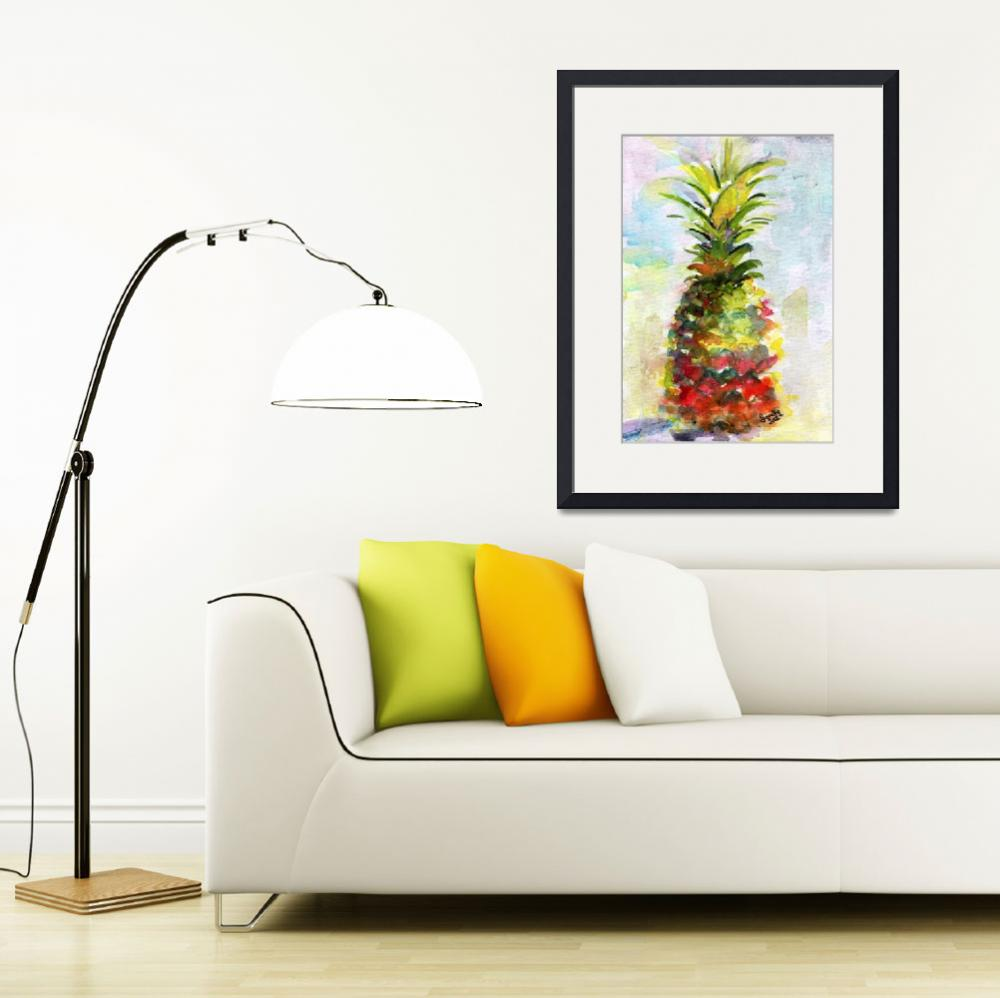"""Pineapple Tropical Fruit Still Life Watercolor&quot  (2012) by GinetteCallaway"