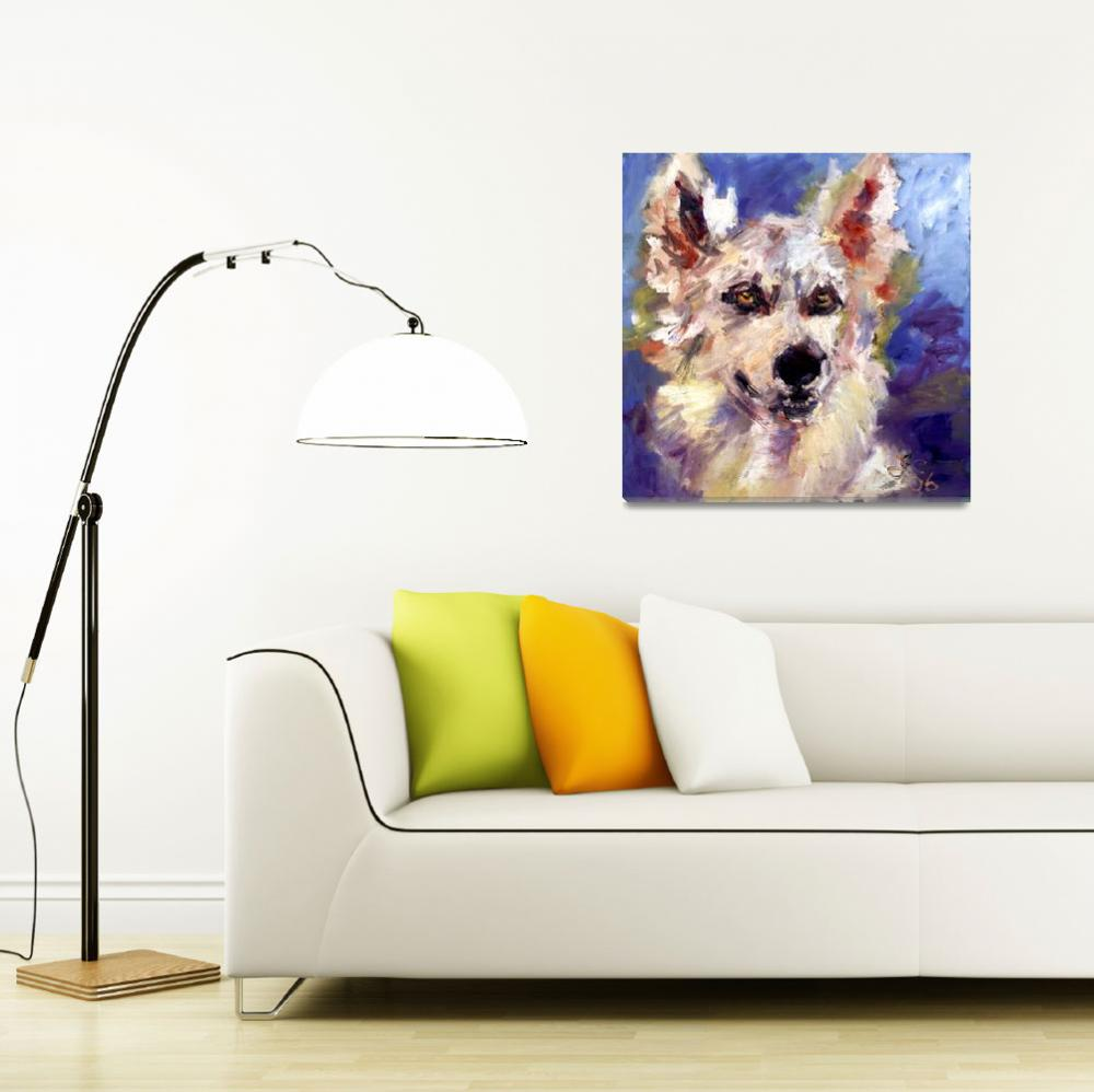 """""""Wolf Dog Oil Painting by Ginette Callaway&quot  (2005) by GinetteCallaway"""