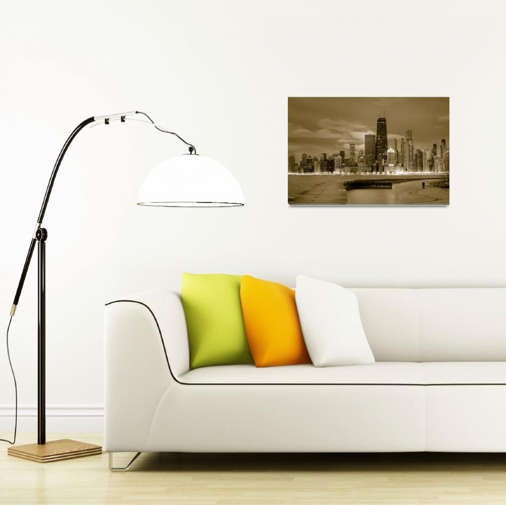 """Chicago Skyline (monochrome)""  (2011) by dawilson"