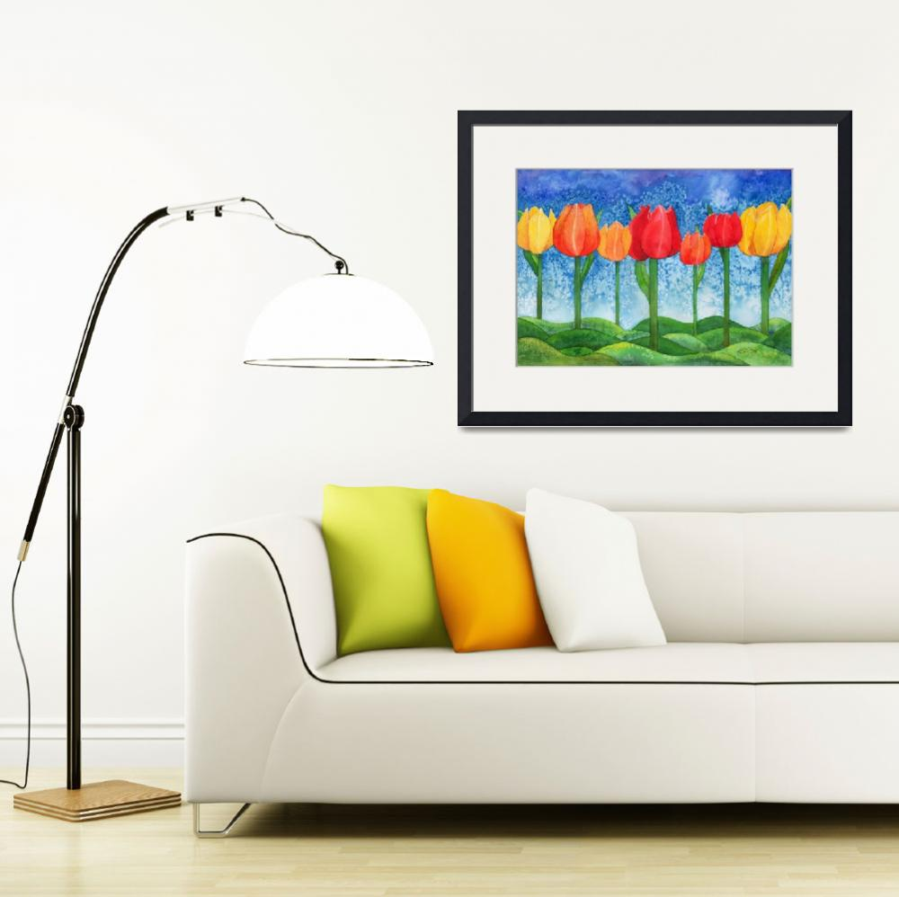 """""""Tulip Trees Watercolor&quot  by foxvox"""