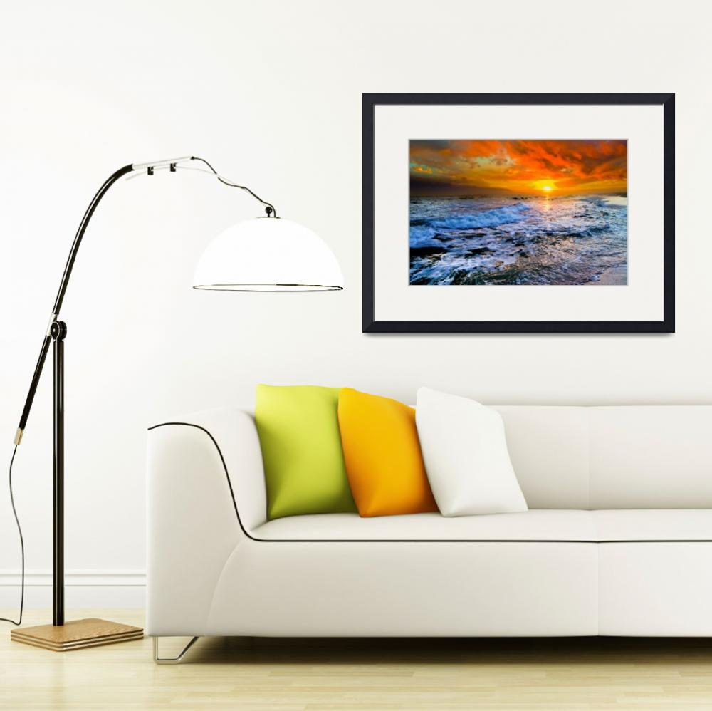 """""""Colorful Seascape Dark Red Sunset and Waves Prints&quot  (2014) by eszra"""