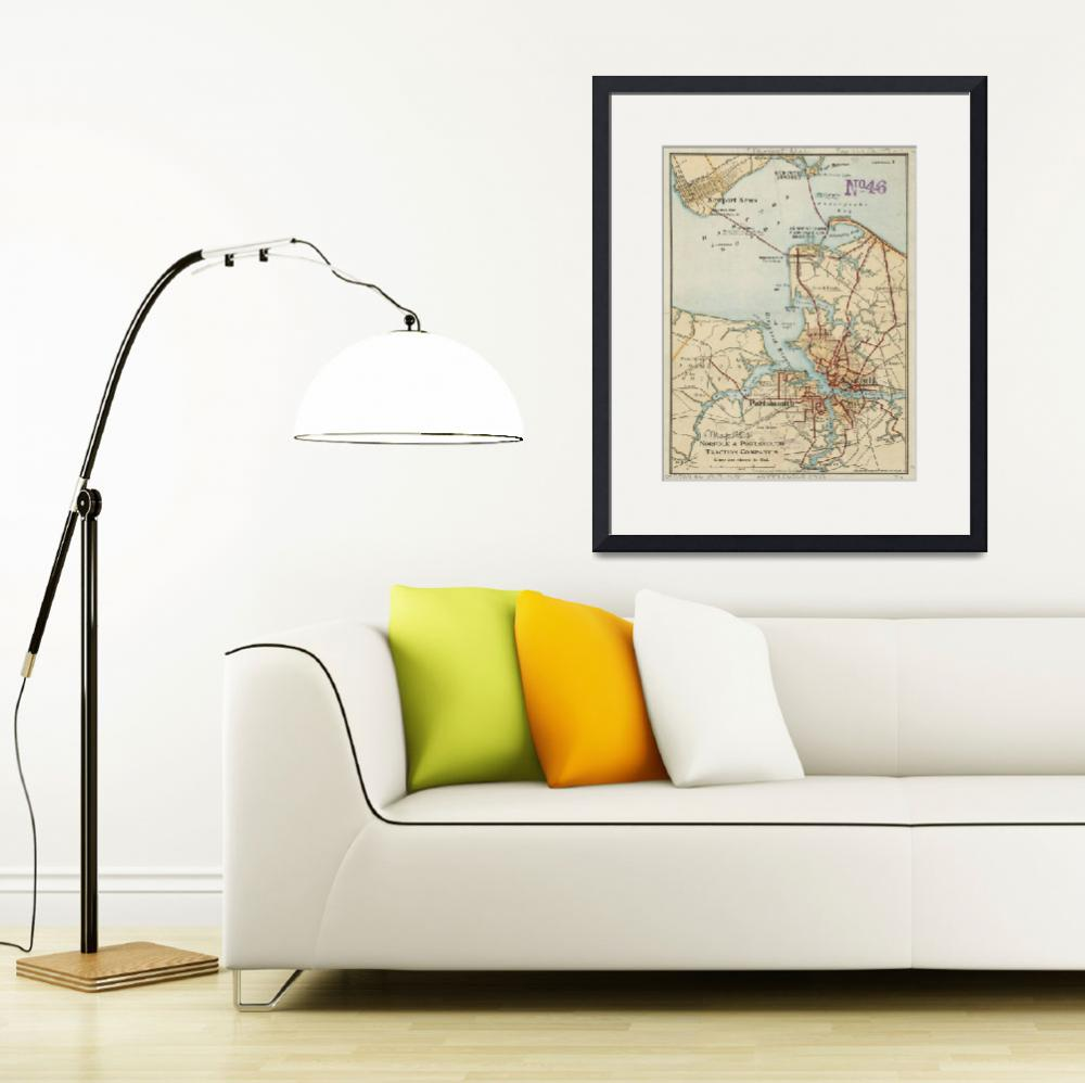 """""""Vintage Map of Norfolk and Portsmouth VA (1919)&quot  by Alleycatshirts"""