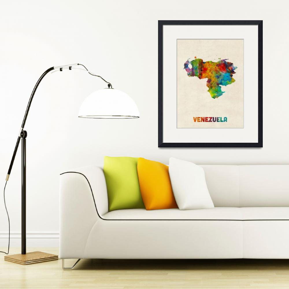 """Venezuela Watercolor Map&quot  (2014) by ModernArtPrints"