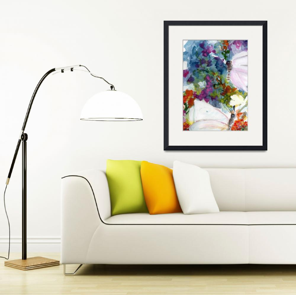 """""""Abstract Wildflowers and Butterflies Watercolors""""  (2012) by GinetteCallaway"""