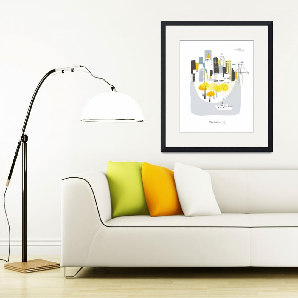 """""""Manhattan Modern Cityscape Illustration&quot  by AlbieDesigns"""