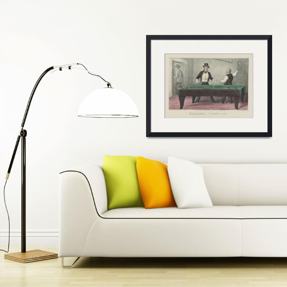 """""""Vintage Billiards Game Illustration (1874)&quot  by Alleycatshirts"""