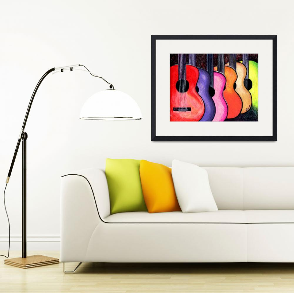 """Acoustic Guitars Fine Art Colorful Print""  (2010) by lonisart570"