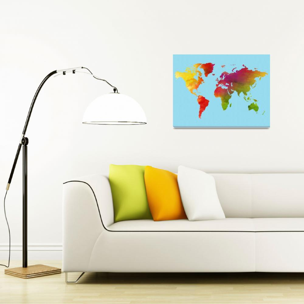 """Watercolor World Map v2&quot  by motionage"