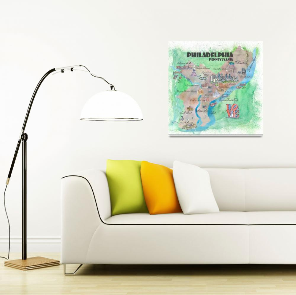 """Philadelphia Fine Art Print Retro Vintage Map&quot  (2018) by arthop77"