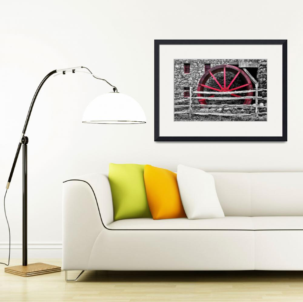 """""""Black and White with Red - Grist Mill""""  (2018) by LukeMoore"""