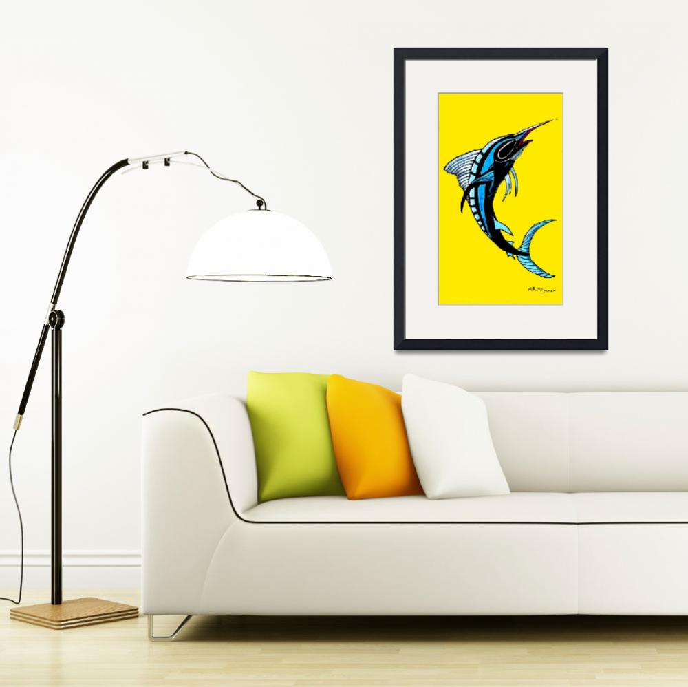 """SWORDFISH -YELLOW BACKGROUND-BLACK LINES-NEGATIVE&quot  (2017) by mrmizener"