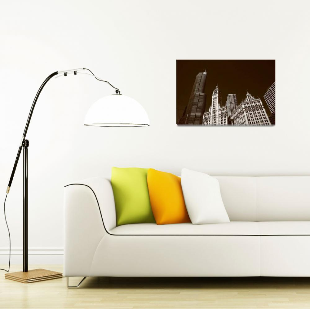"""""""Chicago Skyline&quot  (2010) by Ffooter"""