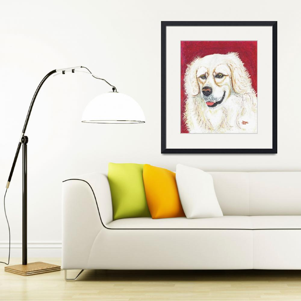 """Cooper, British Golden Retriever Dog&quot  by AniaMMiloART"
