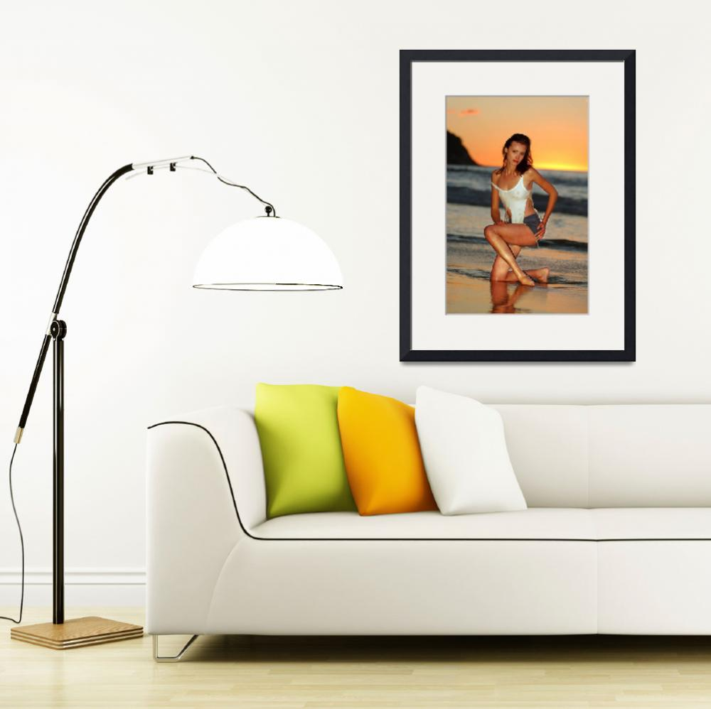 """""""Model posing sexy at Golden Sunset in California&quot  (2004) by AntonOparin"""