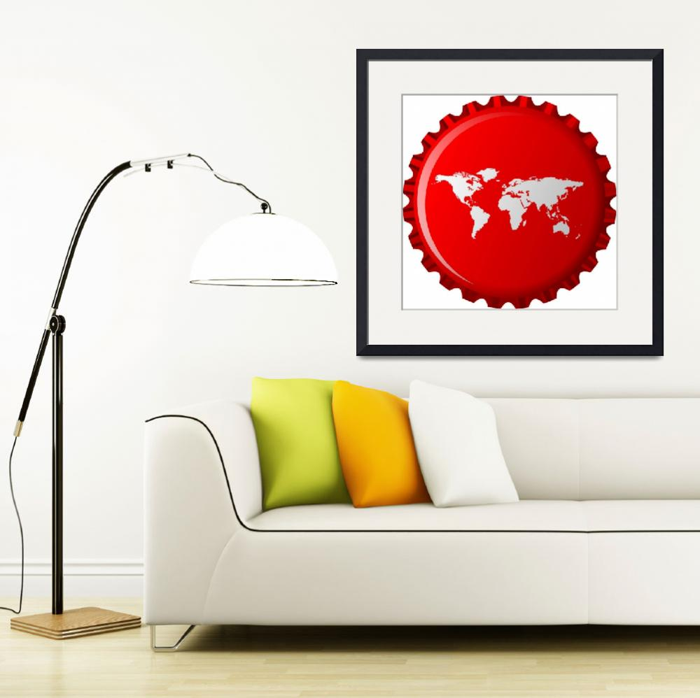"""white world map on red bottle cap&quot  by robertosch"