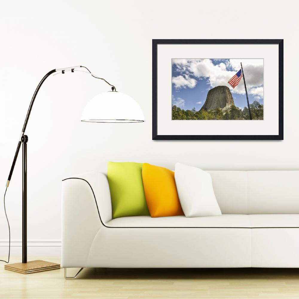 """""""Flag Over Devils Tower&quot  (2011) by PaulCoco"""