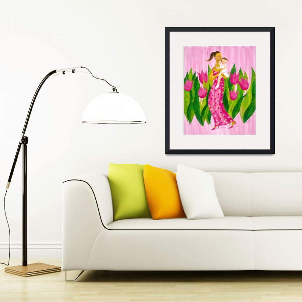 """""""Pink Tulips - A Mother and Daughter&quot  by cocomasuda"""