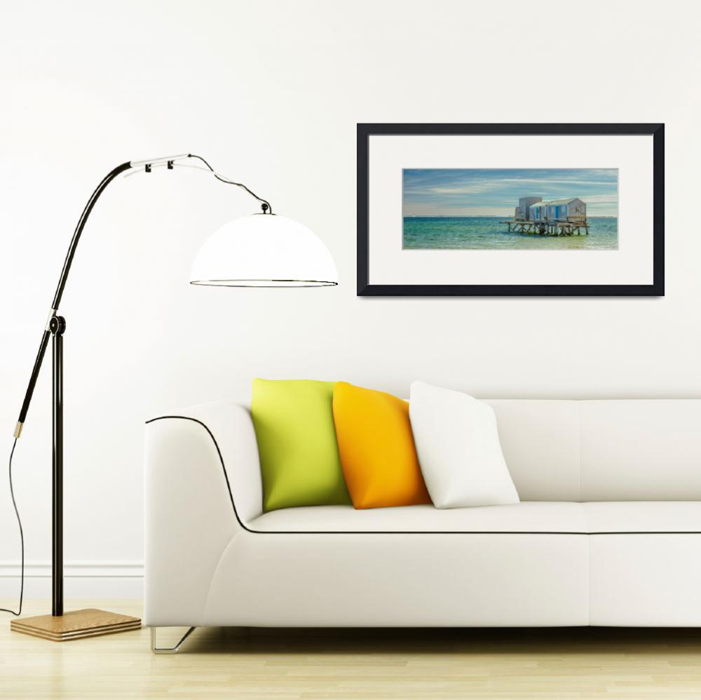 """""""House On The Beach With Lighthouse Panorama&quot  (2016) by Black_White_Photos"""
