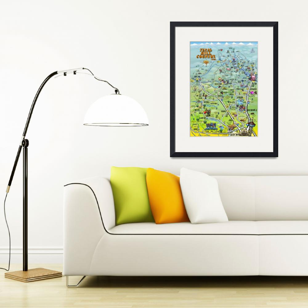 """""""Texas Hill Country Cartoon Map&quot  by FunGraphix"""