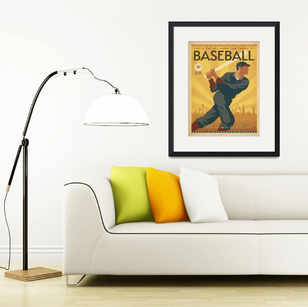 """""""All American Vintage Baseball Poster&quot  by FineArtClassics"""