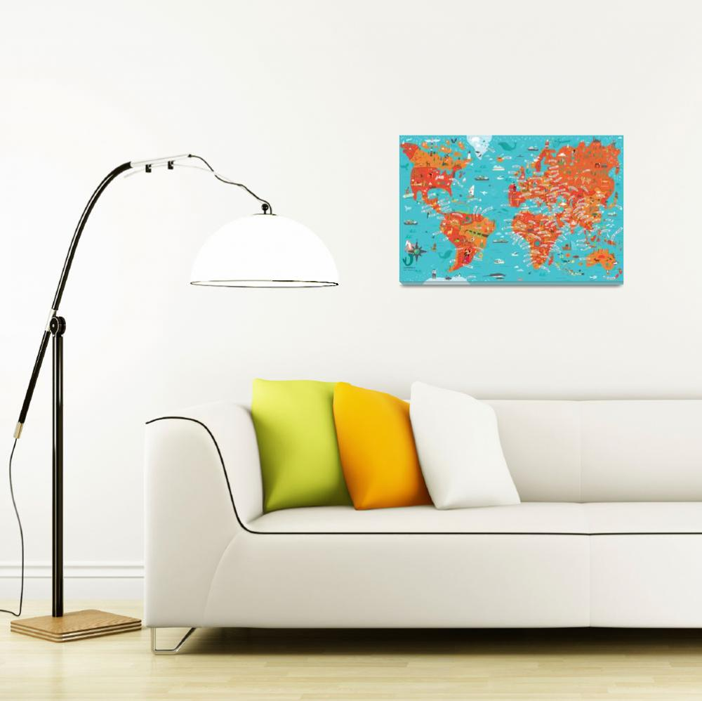"""""""World Map by Nate Padavick&quot  by TheyDrawandCook"""