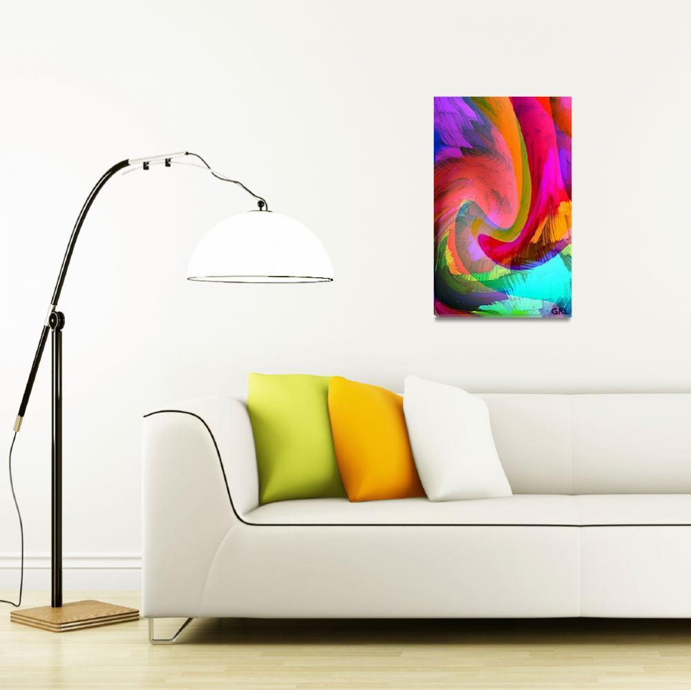"""ORIGINAL FINE ART DIGITAL ABSTRACT WARP 10C RED&quot  by grl"