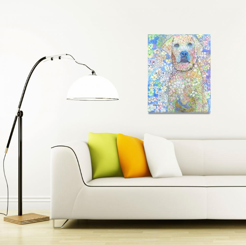 """""""Olivia White Lab Flower Dog Picture&quot  (2018) by RDRiccoboni"""
