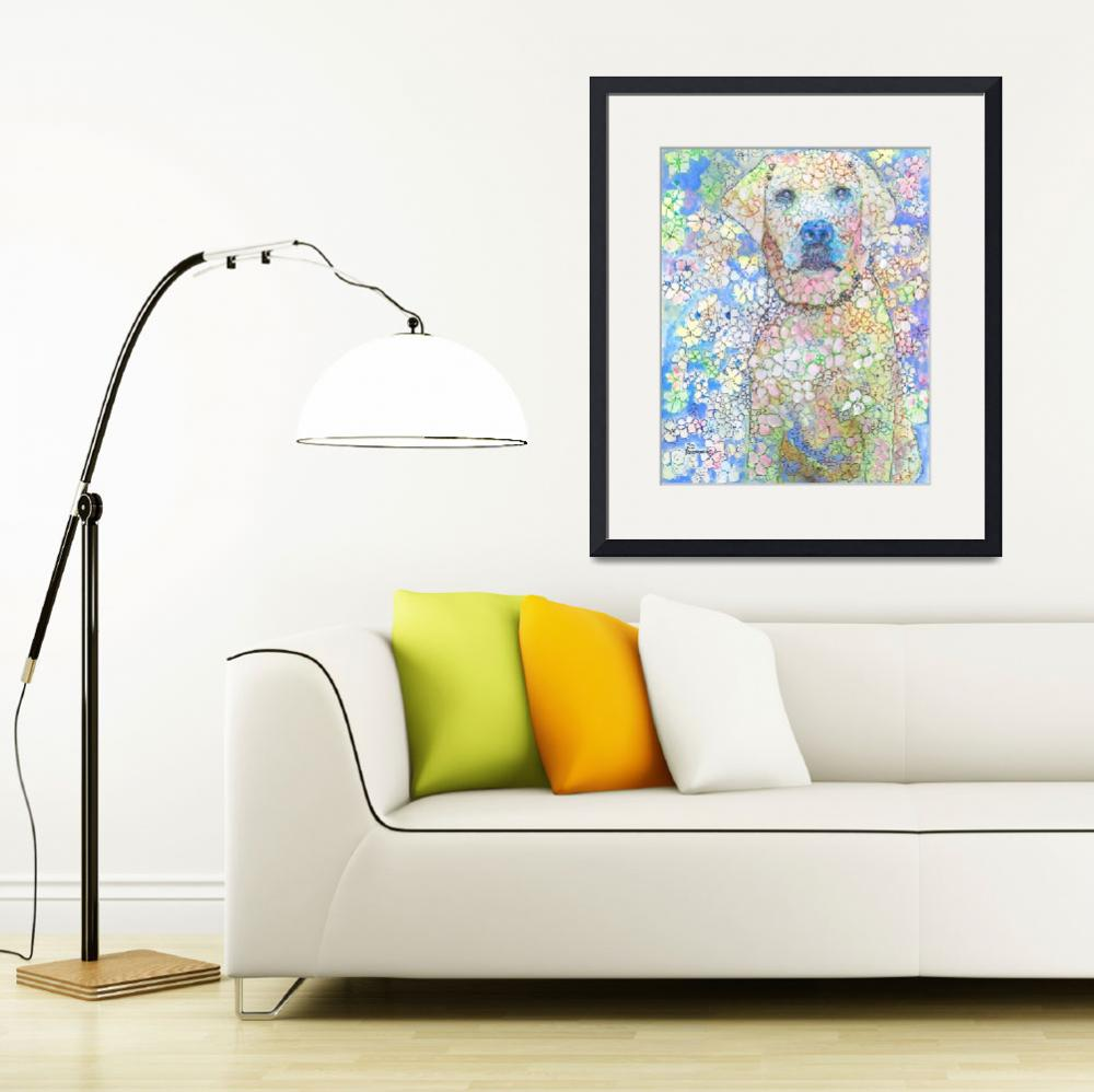 """Olivia White Lab Flower Dog Picture&quot  (2018) by RDRiccoboni"
