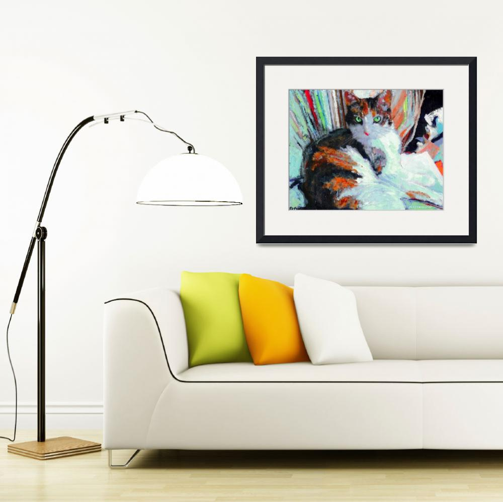"""""""Day At the Office, Portrait of Allie, Calico Cat&quot  (2004) by RDRiccoboni"""