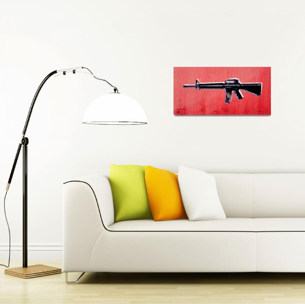 """""""M16 Assault Rifle on Red""""  (2010) by ModernArtPrints"""