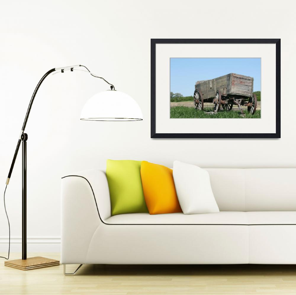 """Abandoned Wooden Wagon in a Field&quot  (2012) by rhamm"