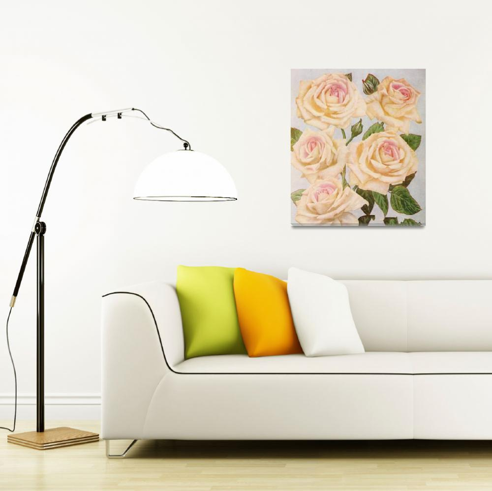 """Vintage White Rose Painting (1920)&quot  by Alleycatshirts"
