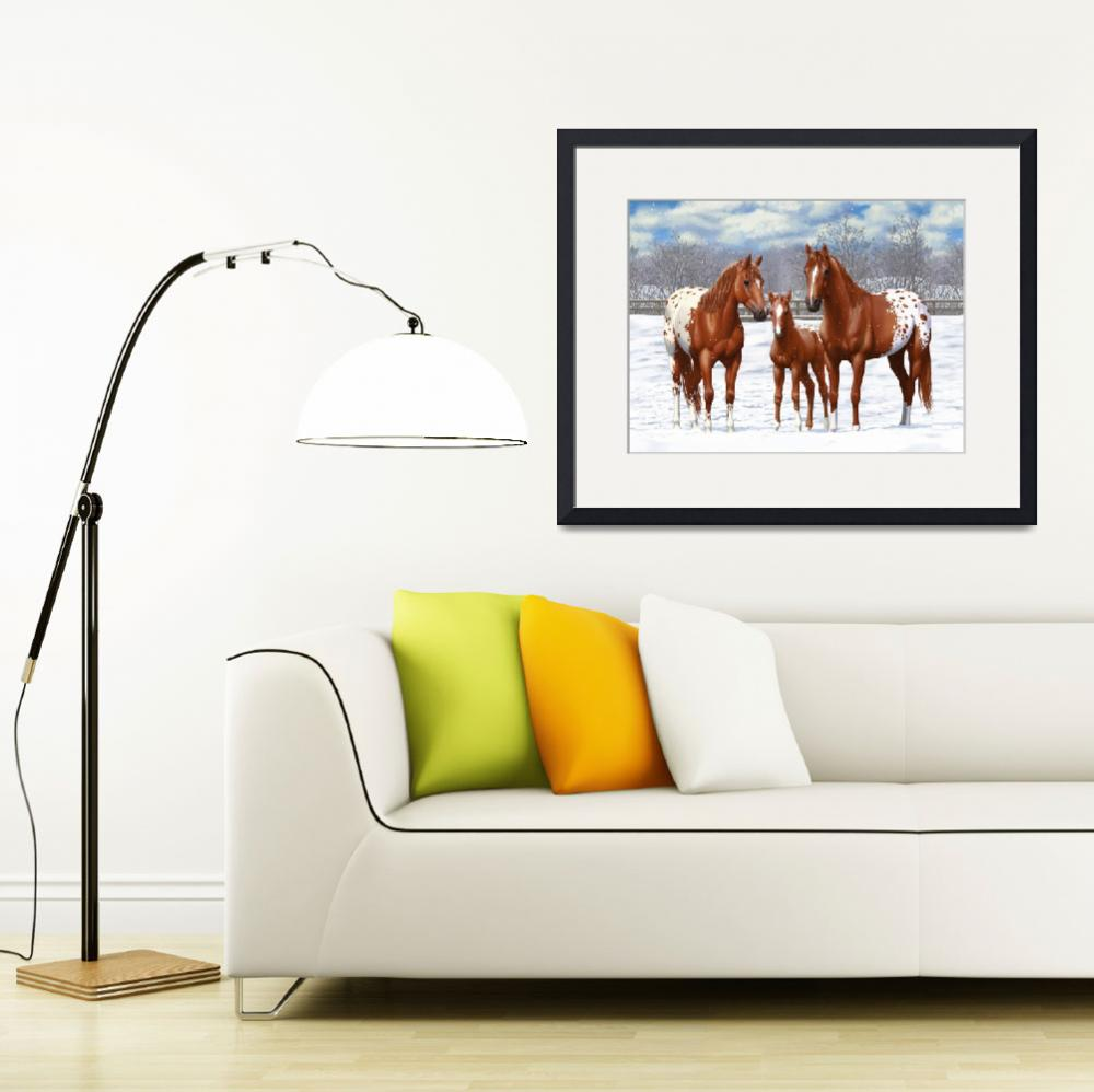 """""""Chestnut Appaloosa Horses In Snow&quot  (2017) by csforest"""