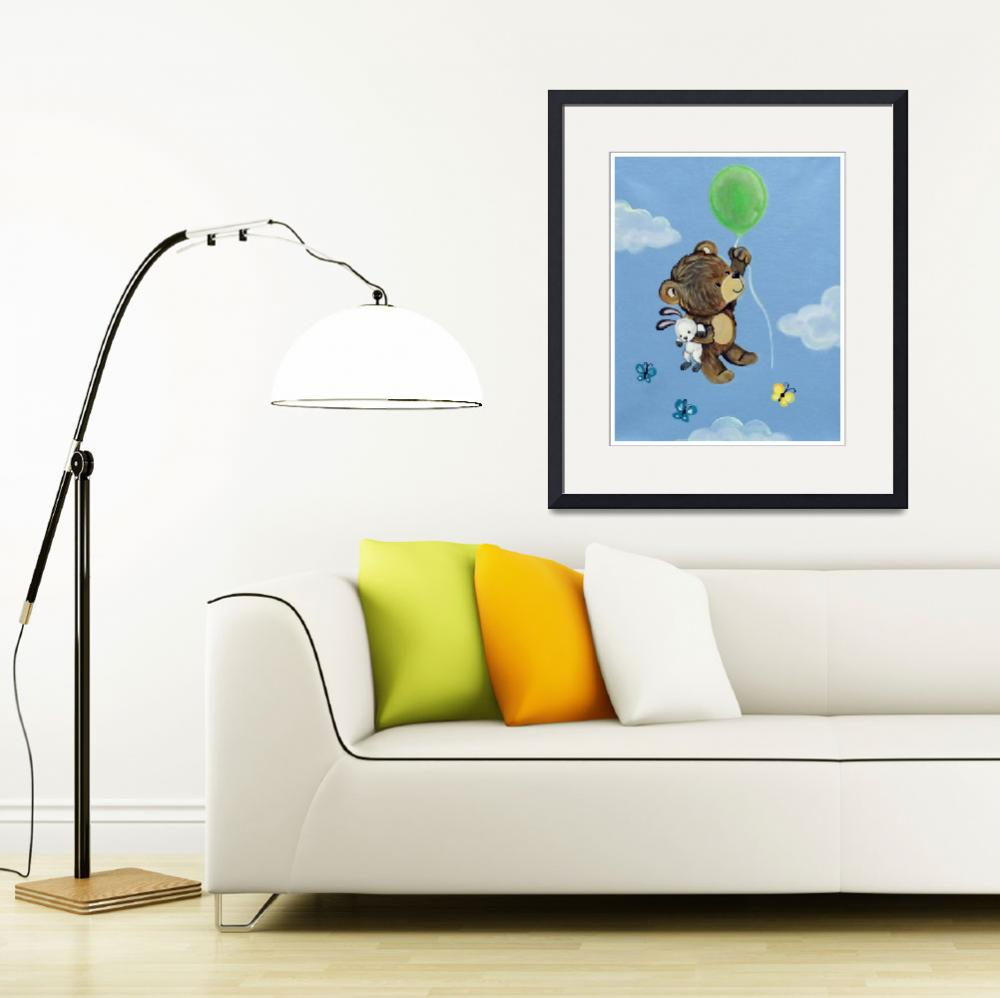 """""""Fly Away Forest Animals - Bear and Bunny&quot  (2014) by Littlepig"""