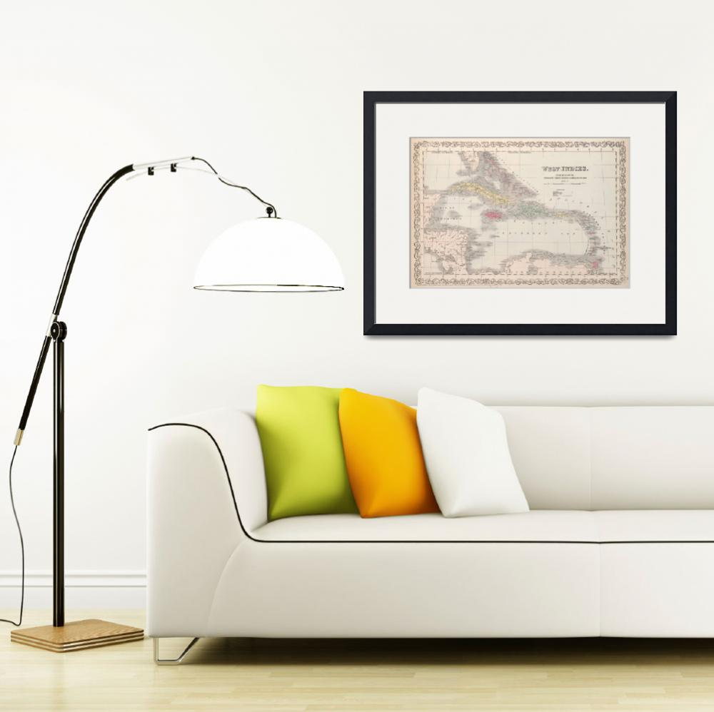 """Vintage Map of The Caribbean (1857)&quot  by Alleycatshirts"