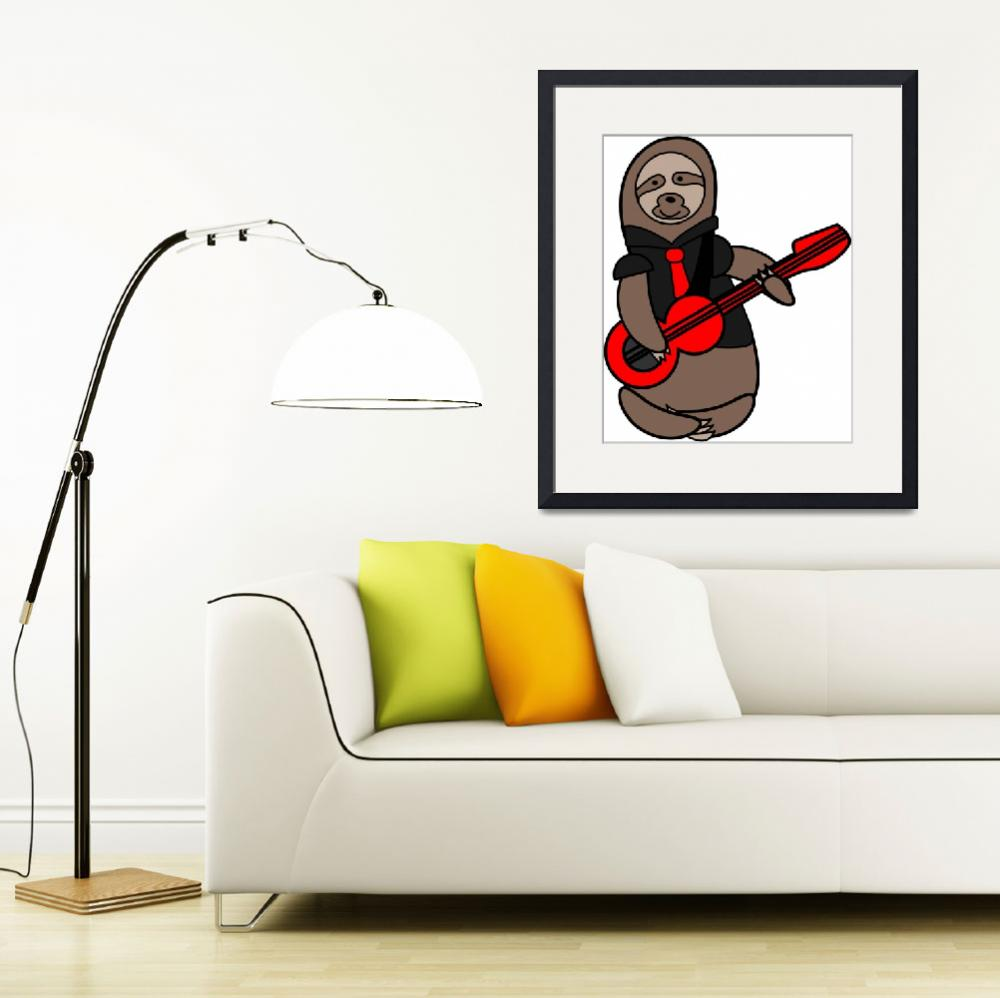 """""""Sloth playing guitar""""  (2019) by ValeriesGallery"""